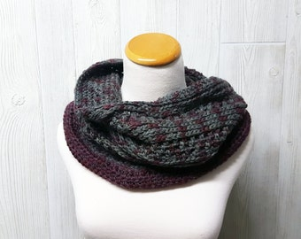 Crochet cowl, Grey and Purple, Hand dyed wool, Womens neckwarmer,