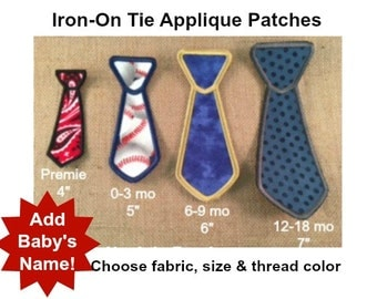TIE APPLIQUE PATCH - Iron On, Tie Patch, Boys Tie Applique, Onesie Tie, Set of 3, Set of 5, Set of 10, Personalized Patch, Name Patch