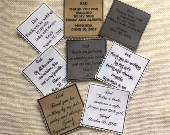 "Iron On - Sew On Wedding TIE PATCH - Choose Message and Font - 2.5"" x 2.5"" PRINTED Patch, Father of the Bride, Father of the Groom, Groom"