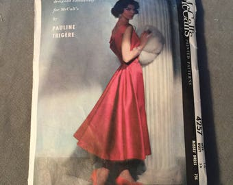 Fabulous 1957 Couture Pauline Trigere Coctail Frock McCall's Pattern #4257, Size 16, Bust 36