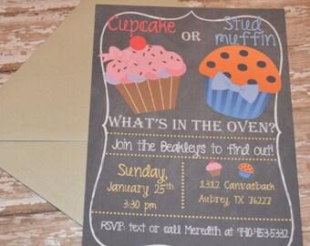DIGITAL Gender reveal invites! Cupcake or studmuffin!