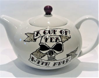 Skull teapot Personalized Tattoo Banner 6 cup teapot TattooTeaLady