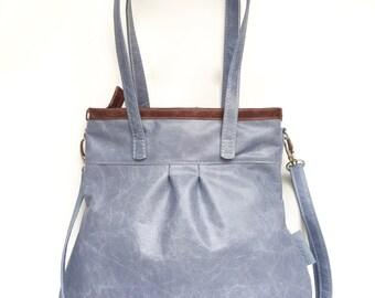 "Blue Leather handbag , light blue Leather purse "" SHELLY BAG "" BLUESKY"