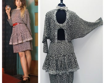 80s black and white silk open-back dress w batwing sleeves // cocktail dress w cutouts & bows sz M / 10