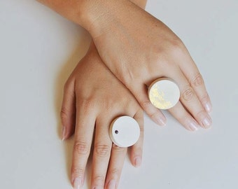 Round pale pink concrete rings ON SALE