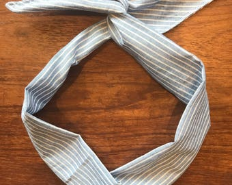 Denim Blue Pinstriped Chambray Wire Twist Headband