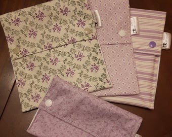 Set of 4 reusable 3 sandwich and 1 snack bags / Purple flowers