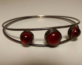 Vintage Signed Georg Kramer Modernist 835 Silver Carnelian? Bangle Bracelet