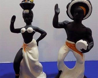 Rare Ceramic Tropical  Island Caribbean Drumer Musician Dancers Conga Latin Calypso Figurine Art Spanish
