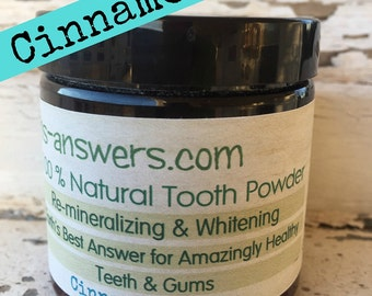 100% Natural Re-Mineralizing & Whitening Tooth Powder, Cinnamon and Sage