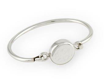 "Personalized Monogram 8"" Round Sterling Silver Bangle Bracelet"