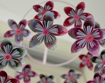 "Kusudama Flower Origami ""All In Pink"" Baby Girl Mobile"