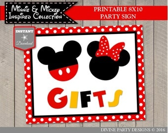 INSTANT DOWNLOAD Girl and Boy Mouse Printable 8x10 Gifts Party Sign / G&B Mouse Collection / ...