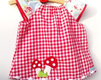 Gingham tunic blouse fly agaric