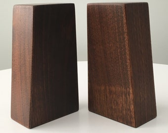 Vintage Modern Asymmetric Solid Walnut Minimalist Salt & Pepper Shakers - Mid Century Sculptural Wood Artist Signed and Dated