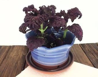 Blue pottery planter ceramic flower pot plant pot gardening, housewarming, hostess, birthday, get well gift