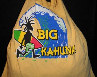 Big Kahuna Surfing T Shirt Tote Bag Upcycled Hand Made Shopping Bag in Yellow