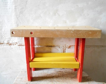 Vintage little handyman's workbench, French vintage toy, carpenter's workbench for children. Kids room decor and storage. red and yellow.