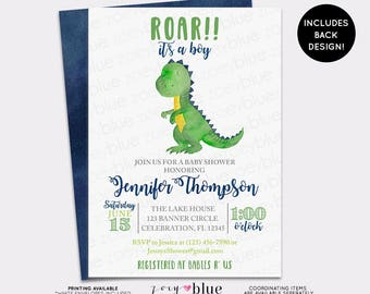 Dinosaur Baby Shower Invitation   Trex Watercolor Baby Shower Invite  Dino  Baby Sprinkle Invitation