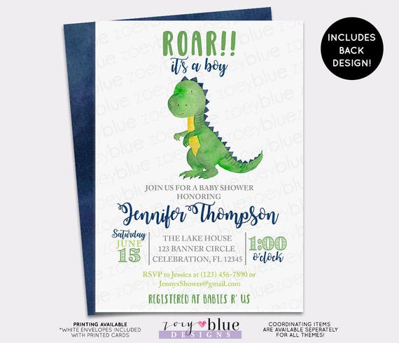 dinosaur baby shower invitation trex watercolor baby shower, Birthday invitations