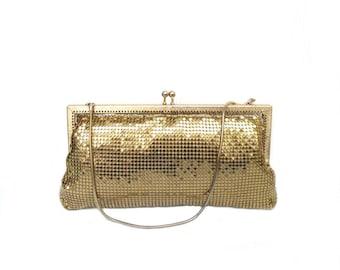 Evening bag golden sequins, vintage evening bag purse gold mesh 60's