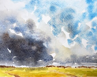 "Stormfront over wheat fields • 7 x 5"" • watercolor painting"