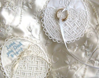 WEDDING MEMORY POCKET, to hold a treasured keepsake in your gown! Unique Egg Shaped Design, Ribbon Ties for Security, Elegant, Personalized