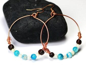Copper Hoop Earrings - Agte Beads - Blue Agate - Alaska Gift -Copper Jewelry