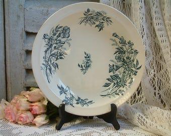 Antique french teal transferware round serving dish. Teal transferware. Jasmine.Butterflies. Blue green transferware. Jeanne d'Arc living