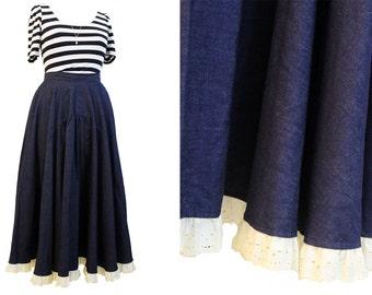 Vintage 1970s denim lace trim country girl maxi skirt | Denim skirt