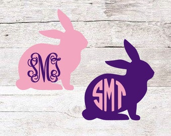 Bunny Monogram Decal   Easter Decal   Yeti Decal   Kids Decal   Cute Decal   Rabbit Monogram