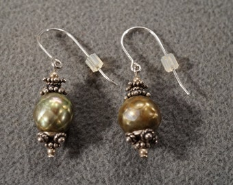 vintage sterling silver dangle drop earrings with cultured pearls with decorative accents, euro wire   M2