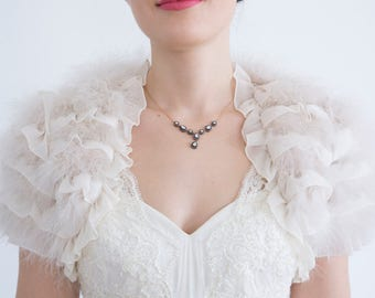 Feather Chiffon Bridal Shrug  Ivory Shrug Wedding Wrap Bridal Cape Bridal Bolero Wedding Shrug Bridal Cover Up  Wedding Bolero