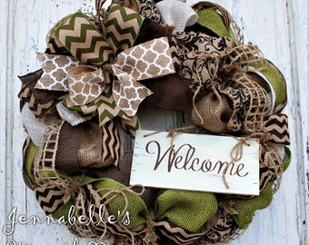 Summer Wreath, Spring Wreath, Burlap Wreath, Chevron Burlap, Shabby Chic Welcome Sign, Avocado Green, Chocolate Brown