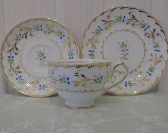 1940s New Chelsea Made in England Fine China Trio - Tea Cup, Saucer, Side Plate -  Hand Painted Bone China  - Afternoon Tea - Floral China