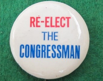 Vintage 1960's Dan Rostenkowski Re-Elect The Congressman Chicago Campaign Pin Back Button - Free Shipping