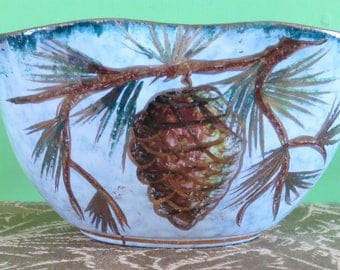 Mid Century Hand Crafted Bowl Made In Italy Pine Cone Pine Tree Design - Free Shipping