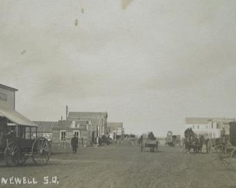 Original 1910's Newell South Dakota Main Street RPPC Real Photo Postcard - Free Shipping