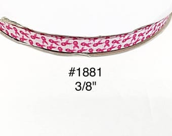 """3 or 5 yard - 3/8"""" Breast Cancer Awareness White Small Grosgrain Ribbon Hair bow"""