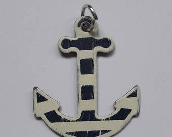 Striped Sailor Anchor Pendant & Charm Jewelry Making Supplies