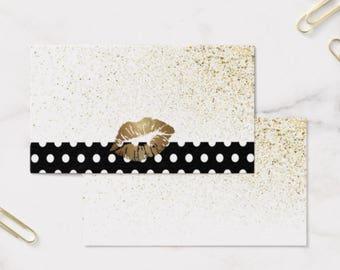 Business Card Template, LIPSENSE/SENEGENCE, Front and Back, Polka Dot Glitter Gold, Instant Download DIY Blank Business Card Template