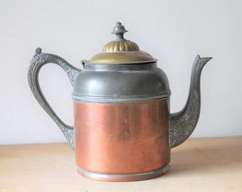 Manning and Bowman Copper Brass Pewter Teapot / Tea Pot - Copperware Brassware Vintage