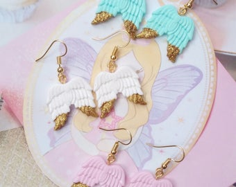 earrings kawaii wings polymer clay