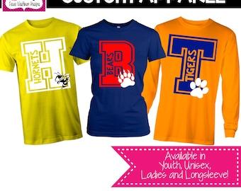 CUSTOM APPAREL: Custom Block Letter with Mascot School Sprit Shirt, Teacher T-Shirt