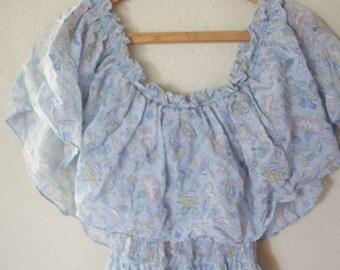 vintage  blue floral smocked maxi dress