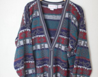 vintage oversized slouchy knitted cosby cardigan sweater