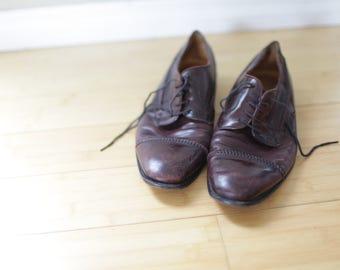 vintage johnston & murphy burgandy leather  oxfords loafers mens 10