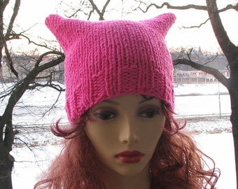 Pink pussyhat, Women's March, Protest hat, Pink Cat Hat, Pussy Hat Accessories Pussyhat