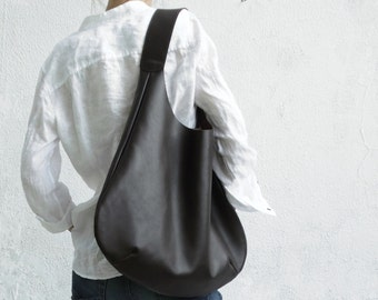 Leather Brown Hobo Bag/Large Hobo Bag Brown/Big Hobo Bag