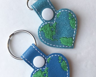 Earth keychain, Heart Earth Keychain, Earth Day, Save the Earth key fob--- you choose color!